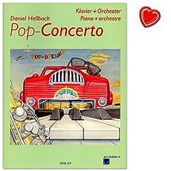 Pop-CONCERTO: Partition pour Piano et orchestre de Daniel clair BACH-Note livre avec cœur Note colorée Pince