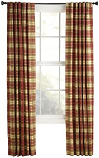 Style Selections 1606427 Bernard 84-in Red Plaid Polyester Back Tab Light Filtering Single Curtain Panel