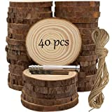 Unfinished Natural Wooden Slices 40 Pcs 3.2-4 Inch Wood Circles for Crafts DIY Christmas Ornament Craft Wood Kit with Bit,Blank Round Wood Slice with Bark for Art,Painting,Party