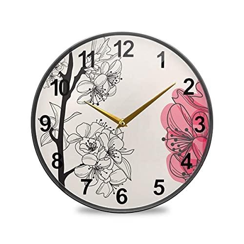 Relojes de Pared de baño Reloj de Pared Decorativo de Cereza Decorativa de 10 Pulgadas Reloj de Cocina silencioso Que no Hace tictac