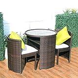 QILIN Muebles Exterior Terraza, Juego de Muebles de Ratán para Exteriores 2 + 1 para Exteriores y Jardín con Manijas y Cajones de Almacenamiento - Marrón