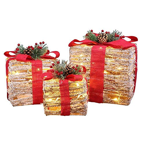 Homegear Christmas Set of 3 Pre-lit Gift Present Boxes w/ 60 LED Lights - Indoor/Outdoor Yard/Lawn Use- Wicker Red Bow