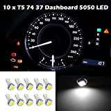 Partsam 10PCS White T5 70 73 74 LED Bulbs for Car Instrument Panel Light Dashboard Gauge Cluster Speedo Indicator Lamp