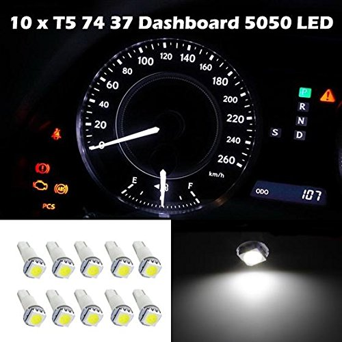 Partsam 10x White T5 74 37 73 257 5050 SMD Instrument Speedo Dash LED Light Replacement for Honda Element 2003-2011