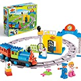 Minmi Motorized Train Set and Tracks Building Blocks - Battery Operated (53 Piece Set)