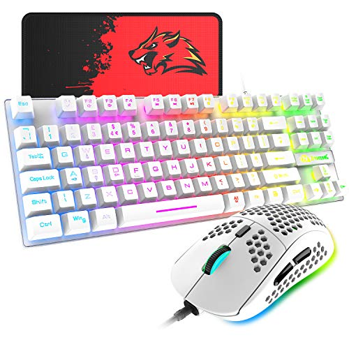 Gaming Keyboard and Mouse Combo,88 Keys Compact Rainbow Backlit Mechanical Feel Keyboard,RGB Backlit 6400 DPI Lightweight Gaming Mouse with Honeycomb Shell for Windows PC Gamers (White)