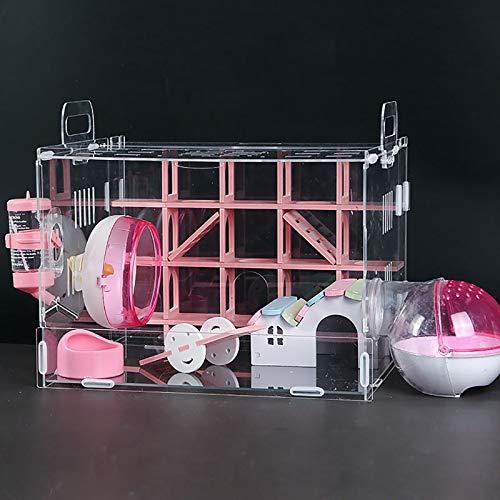 Duvinin ハムスターケージ ハムスターハウス 飼育ケース ペット遊び場 1階デザイン 透明 通気 小動物 組立式 掃除簡単 持ち運びやすい アクリル製(ピンク方形)