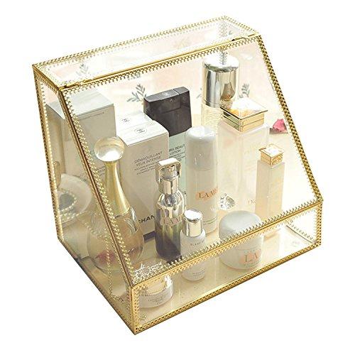 Antike geräumige trapezförmige Spiegelglas-Hautpflege-Organizer/Kosmetik-Organizer/atemberaubende, goldfarbene Kommode mit offenem Frontdeckel für Parfüme/Pinsel/Palette/Badezimmer-Zubehör