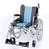 LOLRGV Leichter und leicht zu tragender Faltbarer Rollstuhl aus Magnesiumlegierung mit abnehmbarem Fußpedal und faltbarem Rücken -