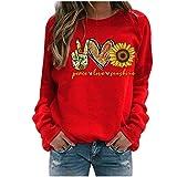 ReooLy Winter Tops Casuales para Mujer Sudadera con Estampado de Girasol para Mujer Blusa Camiseta Suéter(E-Rojo,XL)