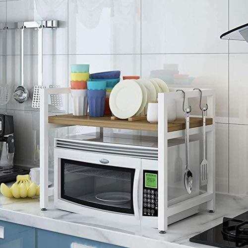 Weste Edelstahl Mikrowelle Rack-Küchenregal KücheCountertop Lagerung 2-Tier Lagerung Regal über Mikrowelle Holz Farbe 60x40x47cm XMJ