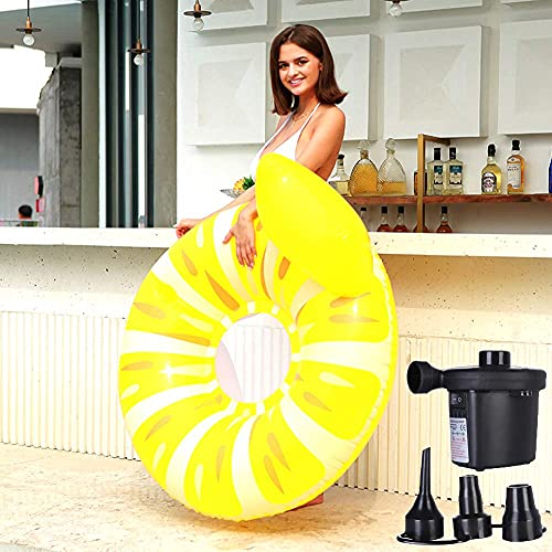 Patchwork Flotador Inflable Grande para Piscina, Anillo de limón, Juguete para Piscina, fácil de Usar, se Adapta a la Playa, la Piscina Inflable para niños o Adultos con Bomba de Aire