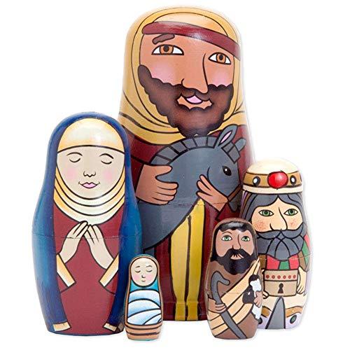 pu ran 5 Teile/Satz Handgemalte Krippe Familie Holz Nesting Dolls Matroschka Für Kinder Weihnachten Muttertag Dekoration Halloween Wishing Geschenk