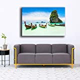 Impresiones de decoración del hogar 1 Panel Mar Costa Tropical Paradise Beach Ocean Island Barco Imágenes Dormitorio Lienzo Arte de la pared 70x100cm Sin marco
