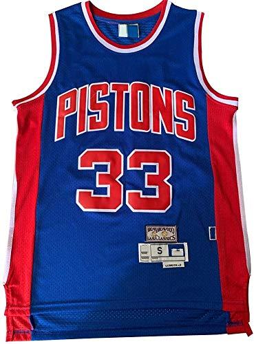 WSUN NBA Basketball Trikot - Detroit Pistons 33# Grant Hill NBA Herren Trikots - Freizeit Atmungsaktives Ärmelloses Basketball Sport T-Shirt,M(170~175CM/65~75KG)