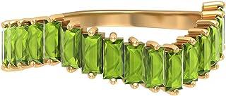 Anillo de eternidad creado en laboratorio de 2,45 quilates, banda curva de eternidad, oro apilable (2 x 4 mm peridoto crea...