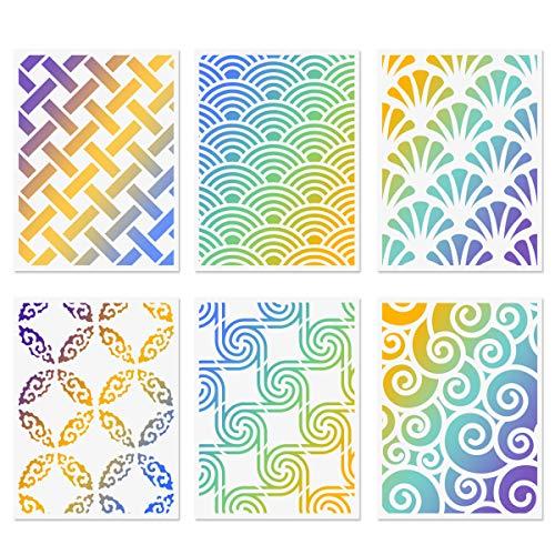 Muster Geometrische Schablonen, 6 Stück Wellenkreis Wiederverwendbare Malvorlagen für Wände Kamin Karte Malen auf Holz Leinwand Möbel DIY Projekte 15x20cm