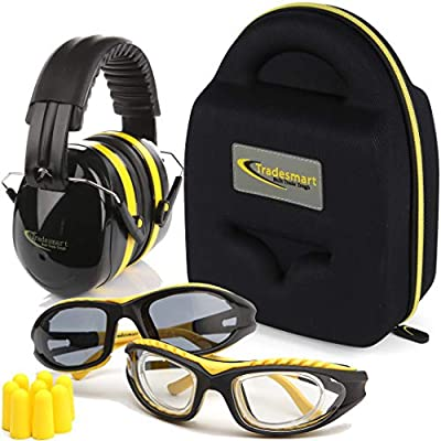 TRADESMART Shooting Earmuffs and Safety Glasses Clear & Tinted| High Impact, Anti Fog, Scratch Resistant Combo Pack/Kit