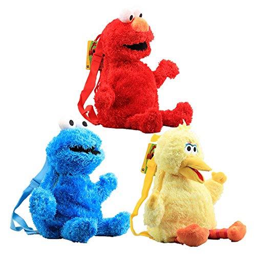Levin_Art 3 Stück Anime Sesame Street Plüsch Rucksack Cartoon Elmo Cookie Monster Großer Vogel Gefüllter Rucksack 46 cm 18 Zoll Coole Schultasche