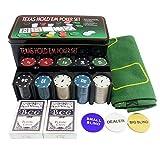 Poker Chip Set for Texas Hold'em Blackjack Casino Gambling with 200 Poker Chips