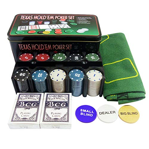 Poker Chip Set for Texas Hold'em Blackjack Casino Gambling with 200 Poker Chips Set - Card Game Table Cloth - 2 Decks Cards - Dealer Button in Aluminum Case for Playing Game Family Friends Party