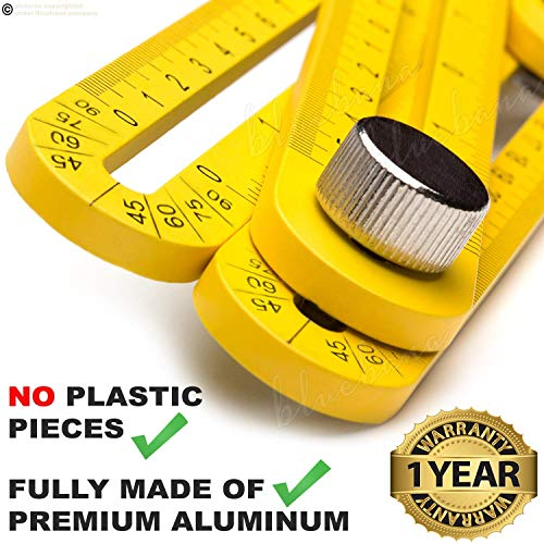 Multi Angle Measuring Ruler Made of Premium Aluminum Easy Angle Ruler 836 angleizer Measurement Tool General Template Tool Box Tile Flooring Gift for Men Women Xeroly Layout Tools by Bluebana