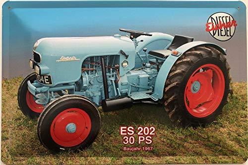 Deko7 Blechschild 30 x 20 cm Eicher Diesel ES 202 30 PS Baujahr 1967