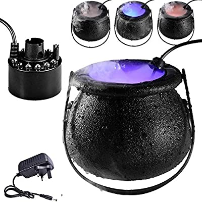 Halloween Smoke Machine,Fog Machine With Lights, 3 Color And 12 Pcs Led Portable Fog Machine, Smoke Machines For Parties Halloween Wedding Christmas Dance DJ, Special Event