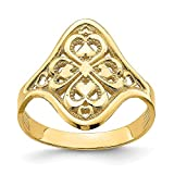 14k Yellow Gold Diamond-cut Filigree Band Ring
