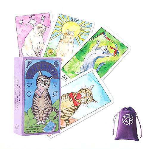 Cat tarot Cards ,With Velvet Storage Bag, tarot cards deck game