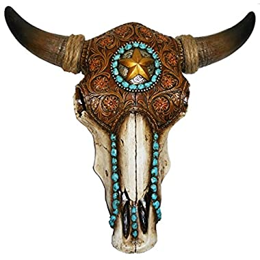 LL Home 12699 Bull Skull with Tooled Leather Home Decor