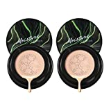 Mushroom head air cushion cc cream natural and brighten, Isolate bb cream waterproof and do not take off makeup, Long Lasting Matte Concealer (2 pcs natural colors)