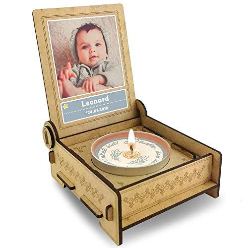 FANS & Friends Candle IN The Box Patenonkel vragen | Geschenkbox met boodschap & kaars | Gepersonaliseerd met afbeelding & naam | naar patenonkel vervoerd