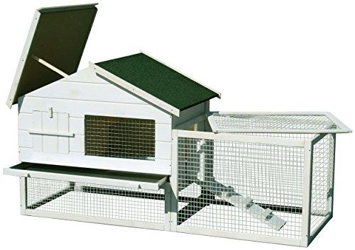 dobar 23281 Großer Kleintierstall XXL weiß mit Doppel-Freigehege doppelstöckig, extra Stauraum, Ruheraum, Zinkwanne, Fronttür und Treppe, 155 x 60 x 86 cm