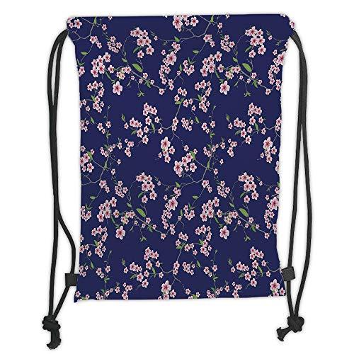 Fevthmii Drawstring Backpacks Bags,Navy and Blush,Blossoming Sakura Cherry Branches Chinese Asian Kimono Pattern,Violet Blue Green Pink Soft Satin,5 Liter Capacity,Adjustable String Closure