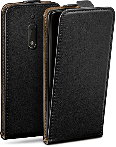 moex Flip Hülle für Nokia 6 - Hülle klappbar, 360 Grad Klapphülle aus Vegan Leder, Handytasche mit vertikaler Klappe, magnetisch - Schwarz