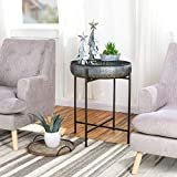 Glitzhome Farmhouse Metal End Table,Folding Galvanized Side Table Waterproof Coffee Table Sofa Side Table with Removable Tray for Living Room Bedroom Balcony and Office Decoration