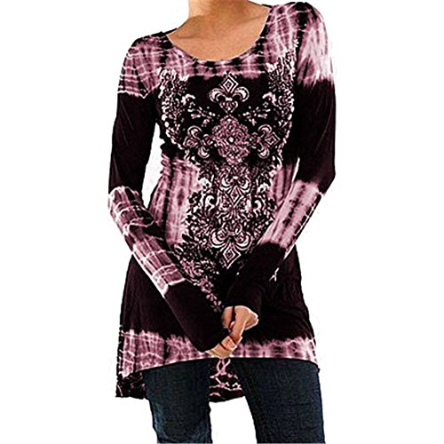 Inlefen Plus Size Womens Vintage Bluse Gothic T-Shirts Printed Magliette a Maniche Lunghe Top Girocollo Tshirts Dress Mini Dress A-Line Slimming Primavera Autunno Inverno Casual Daily Blue Grey Pink