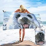 Toalla De Playa De Secado Rápido Pintura De Foca Arpa Papel Tapiz Impreso Microfibra Ligero Toallas De Baño Adecuado para El Hogar Niños Y Adultos Camping Natación Yoga-31.5'X63'