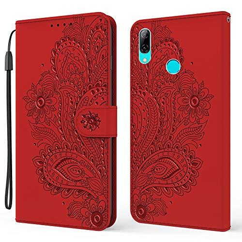 Hülle für Huawei PSmart+ 2019 Hülle Handyhülle [Standfunktion] [Kartenfach] [Magnetverschluss] Tasche Etui Schutzhülle lederhülle klapphülle für Huawei P Smart Plus 2019 - JEYX010382 Rot