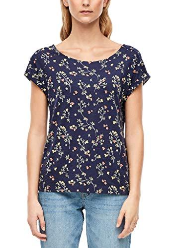 s.Oliver Damen T-Shirt mit Rückenausschnitt Dark Blue AOP Flowers 46