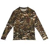 Camisetas de Manga Larga de Camuflaje para Hombres,Militar Fresco Camuflaje Caza de Tiro Camisetas para Hombres Casual Fitness Camisas Elásticas de Poliéster Bolsillo Redondo Camiseta - M, L, XL(XL)