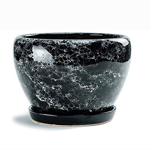 LHY- Bloempot Ceramic bloempot Red cyaan porselein huishouden met dienblad Crystal glazuur Ceramic bloempot Prachtig (Color : D, Size : L)
