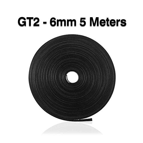 1pc GT2 Belt 5 Meters GT2 Timing Belt 6mm Width Fit For 3D Printer RepRap Mendel Rostock Prusa Creality CR-10 Ender 3 Anet A8 (Size : 5M)
