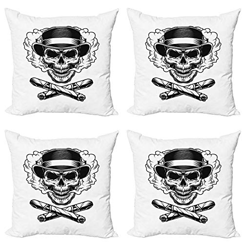 Ambesonne Skull Smoking Throw Pillow Cushion Case Pack of 4, Skeleton Head Wearing Vintage Fedora Hat and Crossed Cuban Cigars, Modern Accent Double-Sided Digital Printing, 16', White Charcoal Grey