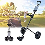 Carro de Golf Plegable, Golf 2 Ruedas Empuje Cart Portátil, Las 2 Ruedas Desmontables Están Diseñadas para Ayudarlo a Almacenarlo Rápidamente Cuando no Está en Uso