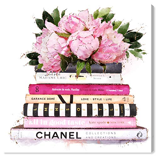 """The Oliver Gal Artist Co. Fashion and Glam Wall Art Canvas Prints Girlboss Books Home Décor, 30"""" x 30"""", Pink, White"""