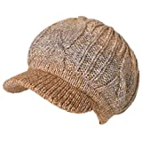 Jeff & Aimy Acrylic Knitted Newsboy Cap Beanies with Visor Bill Cold Weather Winter Hat Ladies Beret Pom Beige