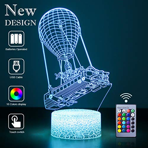 3D Illusion lamp led Night Light Game Lighting 3D lamp with Remote Control 16 Color Change Acrylic Sheet Crack Base Bedside Lamps for Boys Holiday Gifts Christmas Birthday Gift, Game Fan