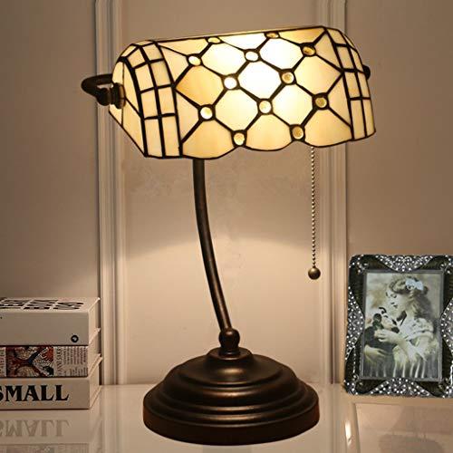 LANMOU Lámpara de Escritorio Tiffany Retro Antiguas Lámpara de Mesa Banker, E27 Lámpara de Cabecera Vintage con Pantalla de Vitral, Interruptor de Tiro e Base de Aleación de Zinc,Amarillo